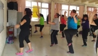Zumba fitness class of belly dance